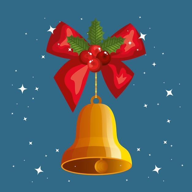Kokarda wstążki z dzwonkiem wiszące świąteczne Darmowych Wektorów