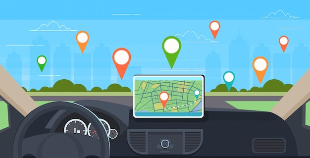 Kokpit Pojazdu Z Inteligentną Asystą Kierowcy Samochodowy Komputer System Nawigacji Gps Na Desce Rozdzielczej Ekran Multimedia Koncepcja Nowoczesne Wnętrze Samochodu Poziomo Premium Wektorów