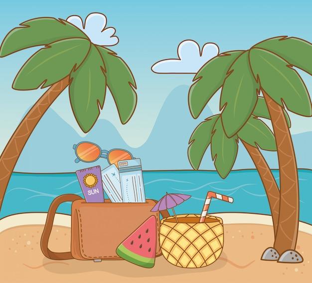 Koktajl ananasowy i ustawić elementy sceny na plaży Premium Wektorów