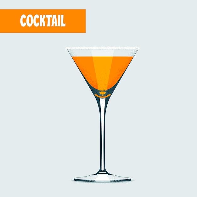 Koktajl Martini W Kolorze Pomarańczowym. Premium Wektorów