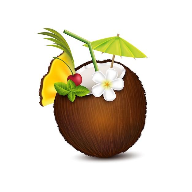 Koktajl Tropikalny W Kokosie Premium Wektorów