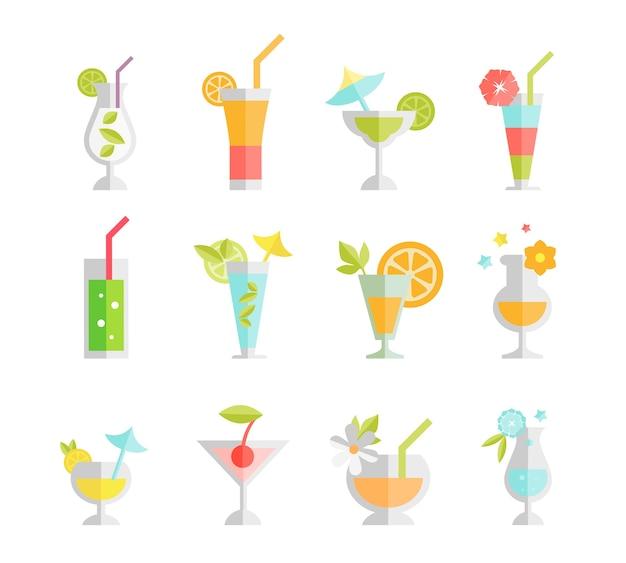 Koktajle Alkoholowe Na Białym Tle. Napój Alkoholowy, Wódka I Martini Darmowych Wektorów