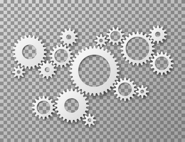 Koła Zębate W Tle. Koła Zębate Przekładni Na Białym Tle Na Przezroczystym Tle. Części Maszyn Przemysłowe I Inżynieryjne Premium Wektorów