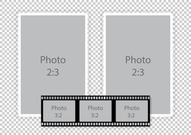 Kolaż Ramek Z Paskiem Do Albumu Fotograficznego Premium Wektorów