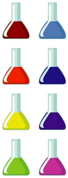 Kolby Wypełnione Chemikaliami O Różnych Kolorach Premium Wektorów