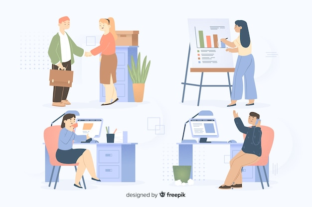 Koledzy pracujący razem w pakiecie biurowym Darmowych Wektorów