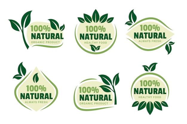 Kolekcja 100% Naturalnej Zielonej Naszywki Darmowych Wektorów
