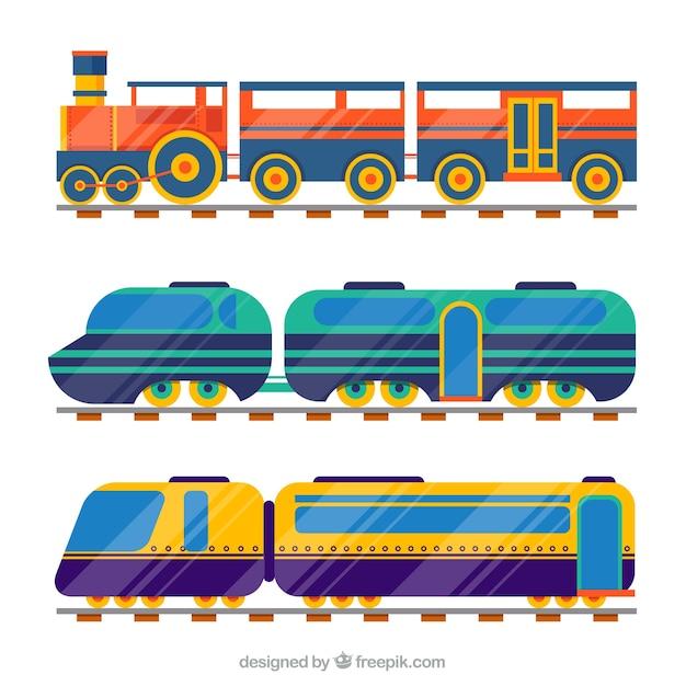 Kolekcja 3 rodzajów pociągów Darmowych Wektorów