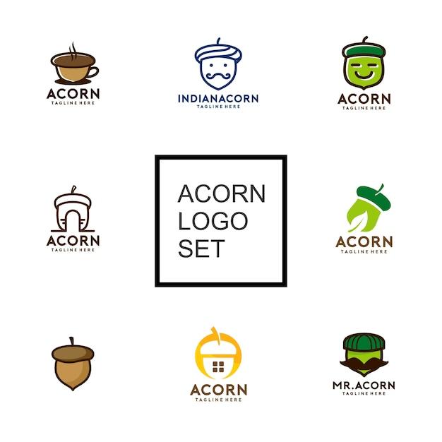 Kolekcja Acorn Logo Premium Wektorów