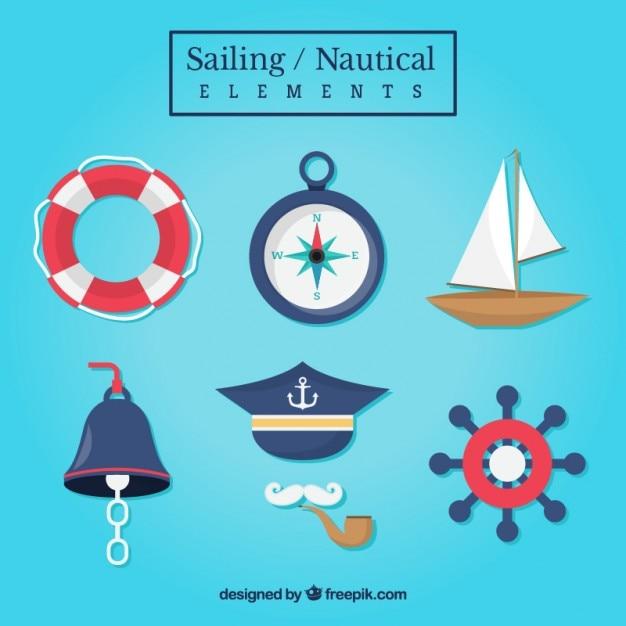 Kolekcja akcesoriów żeglarskich Darmowych Wektorów