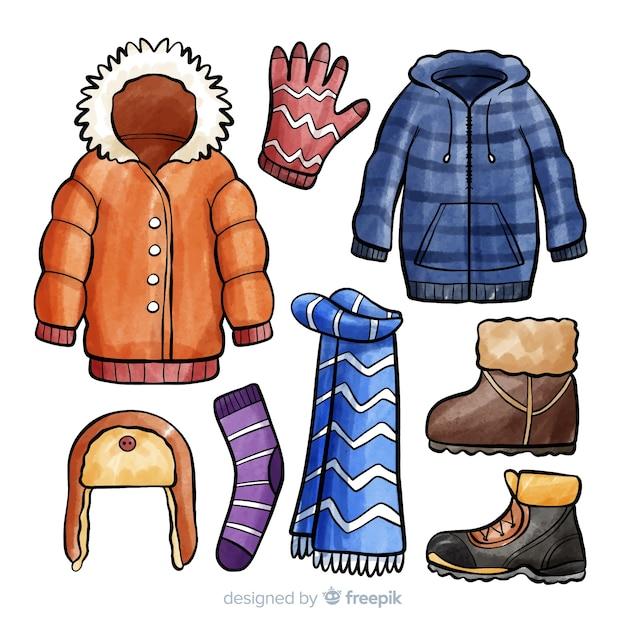 Kolekcja Akcesoriów Zimowych Darmowych Wektorów