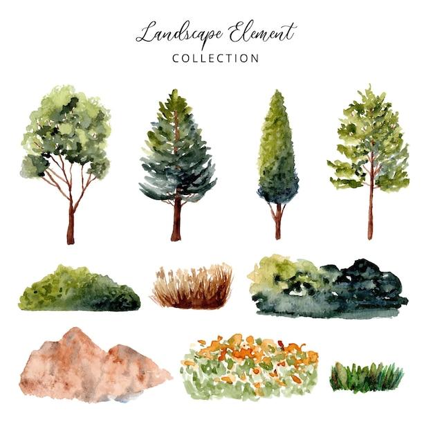Kolekcja Akwarela Elementu Zielonego Krajobrazu Premium Wektorów