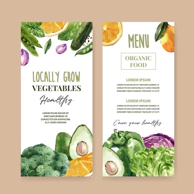 Kolekcja akwarela farby roślinne. świeża żywność organicznego menu zdrowa ilustracja Darmowych Wektorów