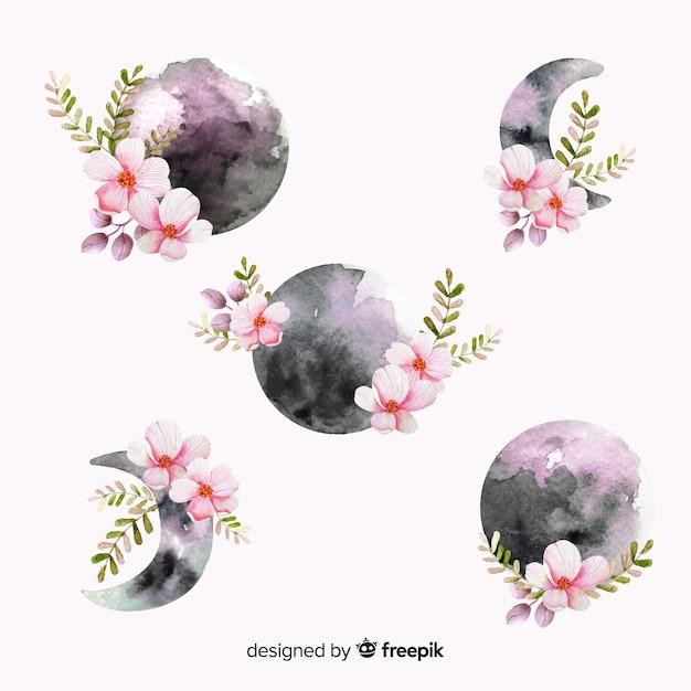 Kolekcja akwarela księżyca w fioletowych odcieniach Darmowych Wektorów