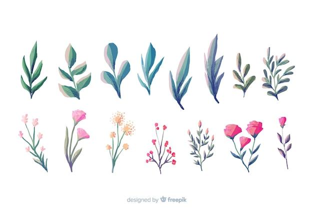 Kolekcja akwarela mały kwiatowy oddział Darmowych Wektorów