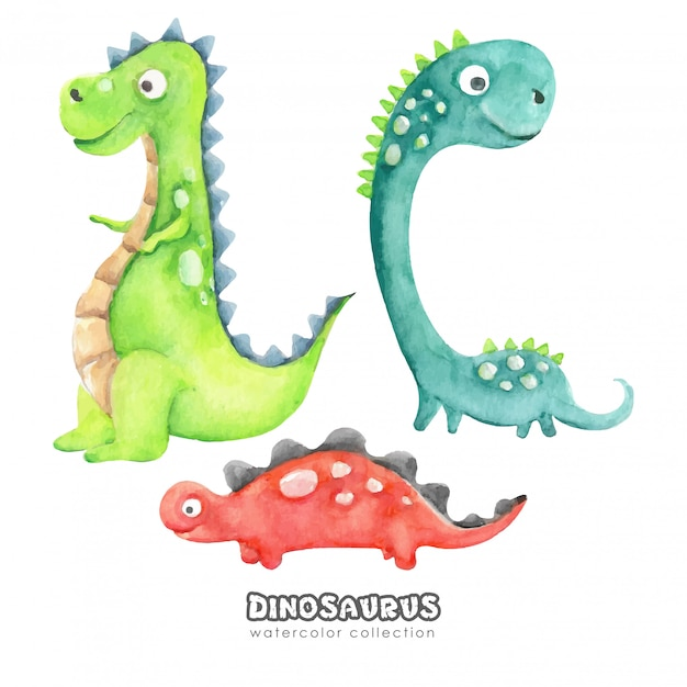 Kolekcja Akwarela śmieszne Kreskówki Dinozaurów Premium Wektorów
