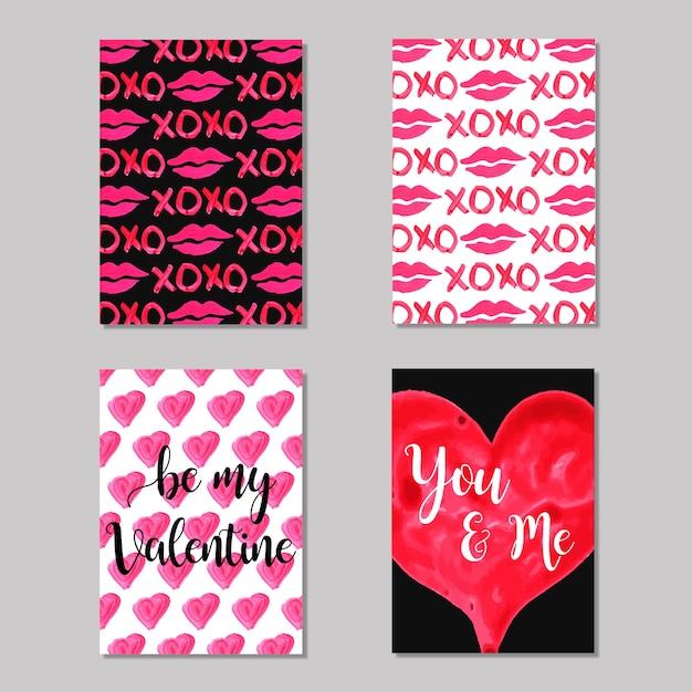 Kolekcja akwarela valentine cards Darmowych Wektorów