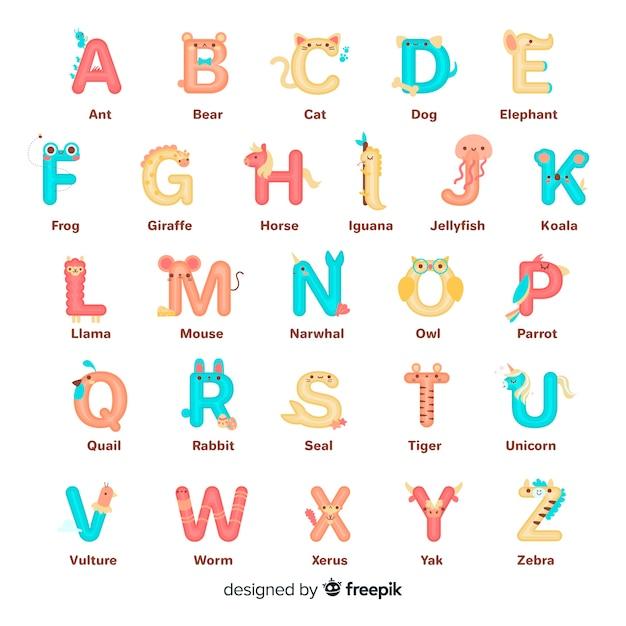 Kolekcja Alfabet Litery Zwierząt Darmowych Wektorów