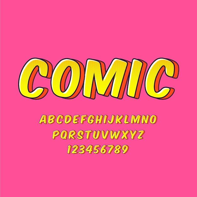 Kolekcja Alfabetu Od A Do Z W 3d Komiks Koncepcji Darmowych Wektorów