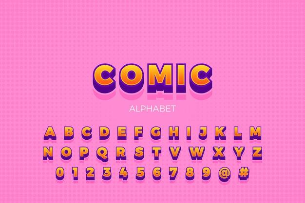 Kolekcja Alfabetu W 3d Komiks Koncepcji Darmowych Wektorów