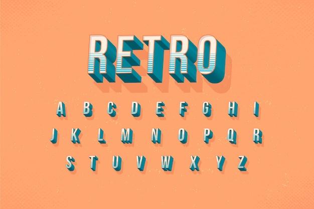 Kolekcja Alfabetu W 3d Koncepcja Retro Darmowych Wektorów