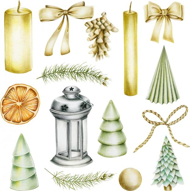 Kolekcja artykułów świątecznych (świece, kokardy, szyszka jodły, choinka, suszona pomarańcza, latarnia) Premium Wektorów