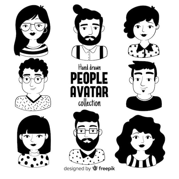 Kolekcja avatar ludzi kreskówek Darmowych Wektorów