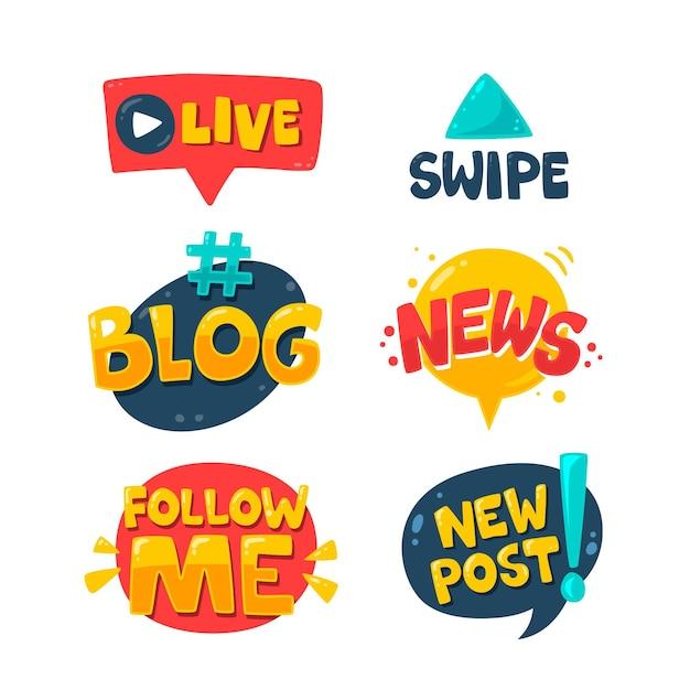 Kolekcja Bąbelków Slangowych Mediów Społecznościowych Darmowych Wektorów