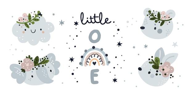 Kolekcja Baby Shower. Mały Zestaw Z Uroczymi Zwierzętami I Tęczą Premium Wektorów