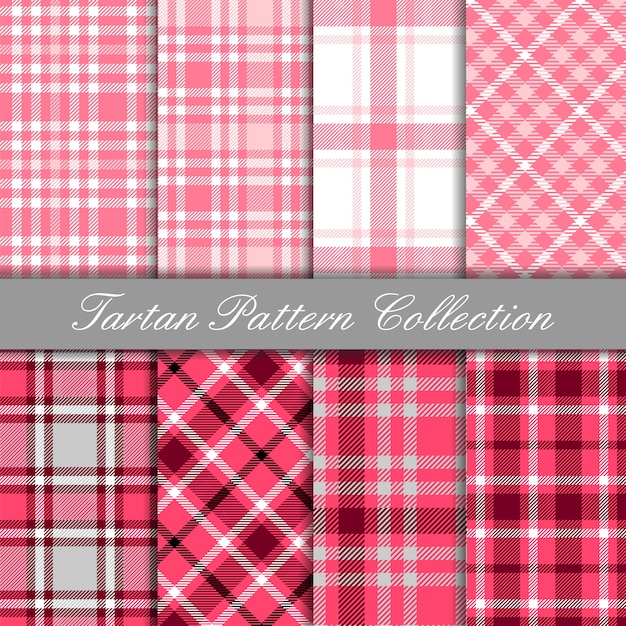Kolekcja Baby Tartan Różowy Wzór Premium Wektorów