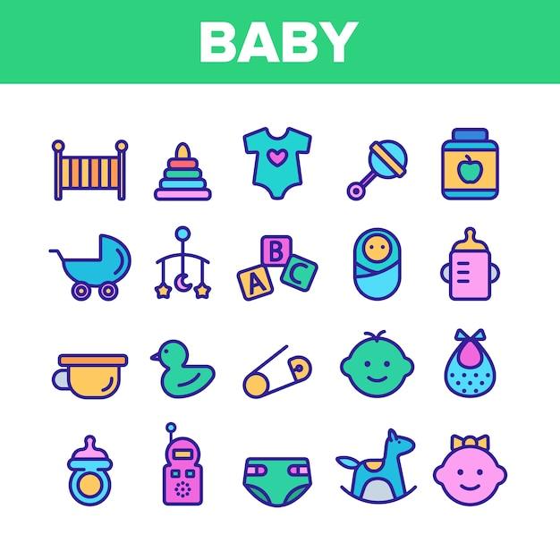 Kolekcja Baby Toys And Elements Icons Set Premium Wektorów