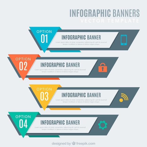 Kolekcja banerów infographic Darmowych Wektorów