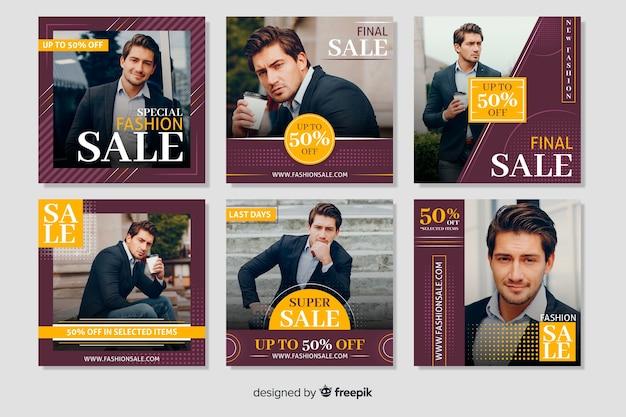 Kolekcja banerów instagram moda męska Darmowych Wektorów