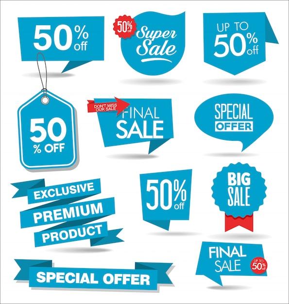 Kolekcja Banerów Nowoczesny Niebieski Sprzedaż Premium Wektorów