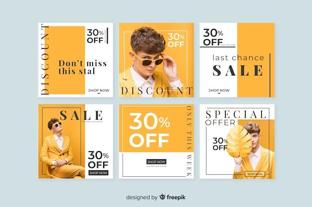 Kolekcja banerów sprzedażowych dla mediów społecznościowych Darmowych Wektorów