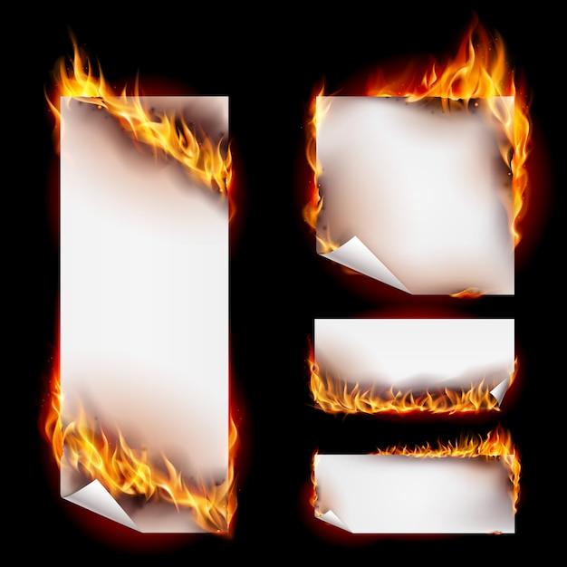 Kolekcja Banner Ognia Premium Wektorów