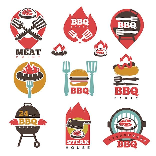 Kolekcja bbq steak party house meat point signs Premium Wektorów