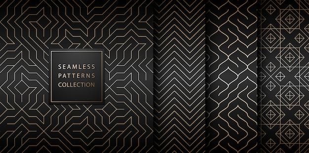 Kolekcja Bezszwowe Geometryczne Złote Minimalistyczne Wzory. Premium Wektorów