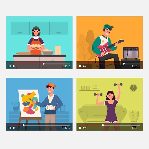 Kolekcja Blogerów Na Ekranie Darmowych Wektorów