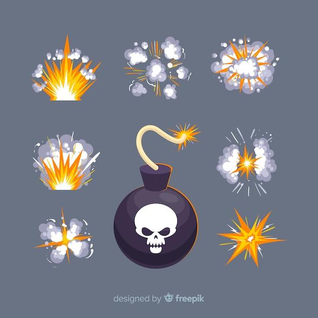 Kolekcja bomba komiksowa i efekt wybuchu Darmowych Wektorów