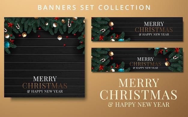 Kolekcja boże narodzenie i nowy rok z obramowaniem lub girlandą z gałęzi choinek Premium Wektorów