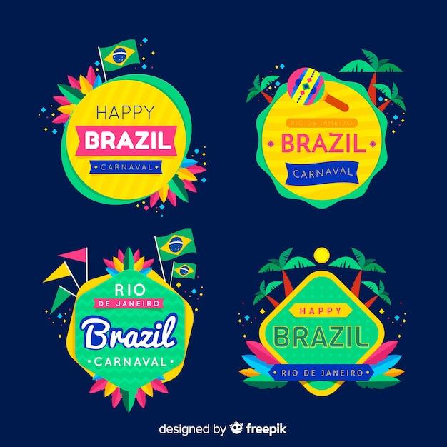 Kolekcja brazylijskich karnawałowych etykiet Darmowych Wektorów