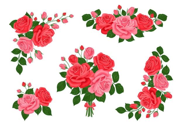 Kolekcja Bukietów Róż Czerwonych I Różowych Kwiatów I Pąków. Premium Wektorów