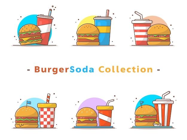 Kolekcja burger i sody Premium Wektorów
