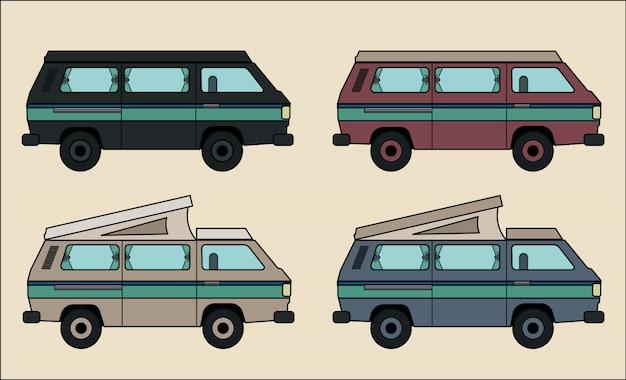 Kolekcja Camper Van Premium Wektorów