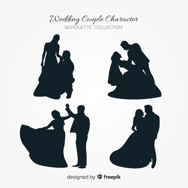 Kolekcja charakter para ślub Darmowych Wektorów
