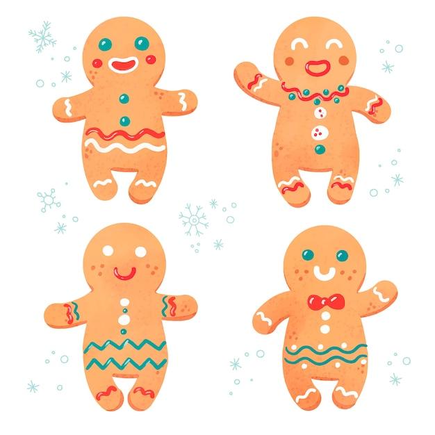 Kolekcja ciasteczek akwarela piernika Darmowych Wektorów