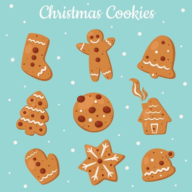 Kolekcja Ciasteczek Imbirowych. Ciastka świąteczne. Premium Wektorów