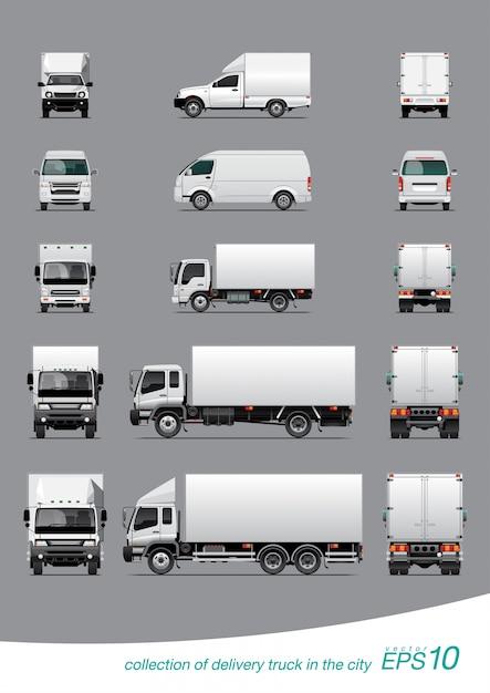 Kolekcja ciężarówek dostawczych Premium Wektorów