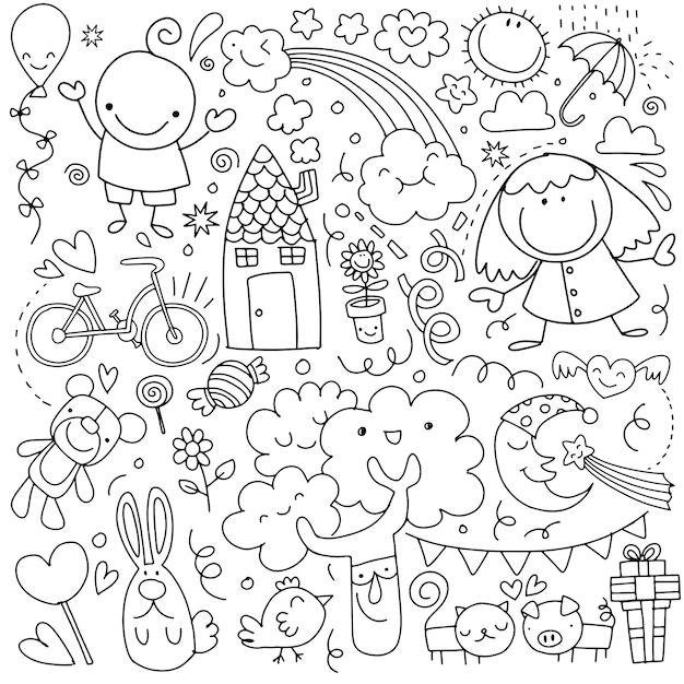 Kolekcja Cute Dzieci Rysunki Dzieci Wektor Premium Pobieranie